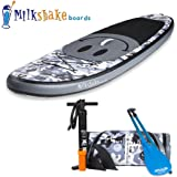 Milkshake Inflatable 8' Kids Stand Up Paddle Board and Complete SUP Bundle (Camo Emoji) | Includes Board, Pump, Adjustable Paddle, Easy Transport Back Pack and Repair Kit