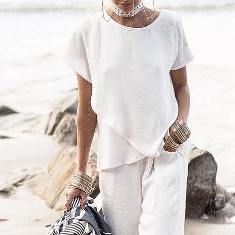 Ulanda-EU Camisas - Manga corta - para mujer Blanco blanco Medium: Amazon.es: Ropa y accesorios