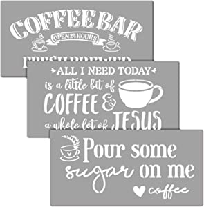 OCCdesign Coffee Bar Sign Stencils Kit - Rustic Farmhouse Inspirational Template for Floors Furniture Paper Window Glass Door Wall Sign Painting Spraying Crafts Decor