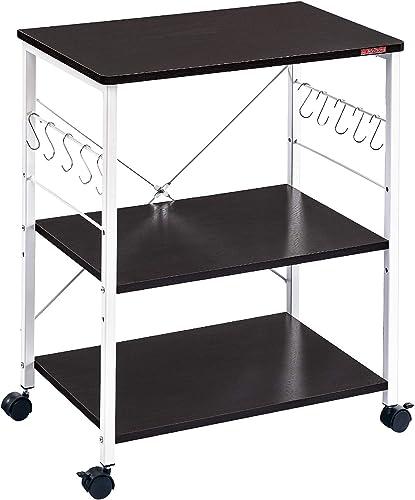Mr IRONSTONE 3-Tier Kitchen Baker's Rack Utility Microwave Oven Stand Storage Cart Workstation Shelf Dark Brown