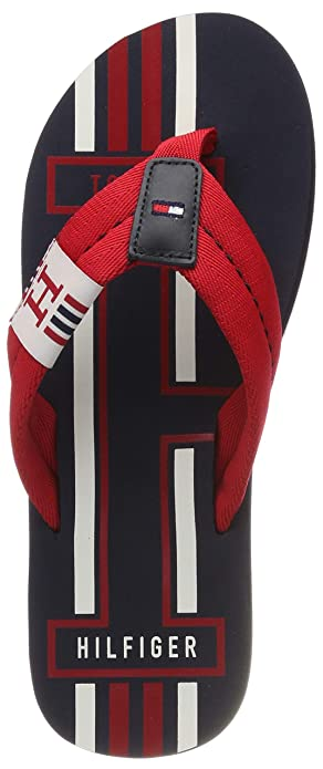 ac34a6c9c8ee Tommy Hilfiger Men s TH Badge Textile Strap Beach Sandals UK 7 Red  Multicoloured