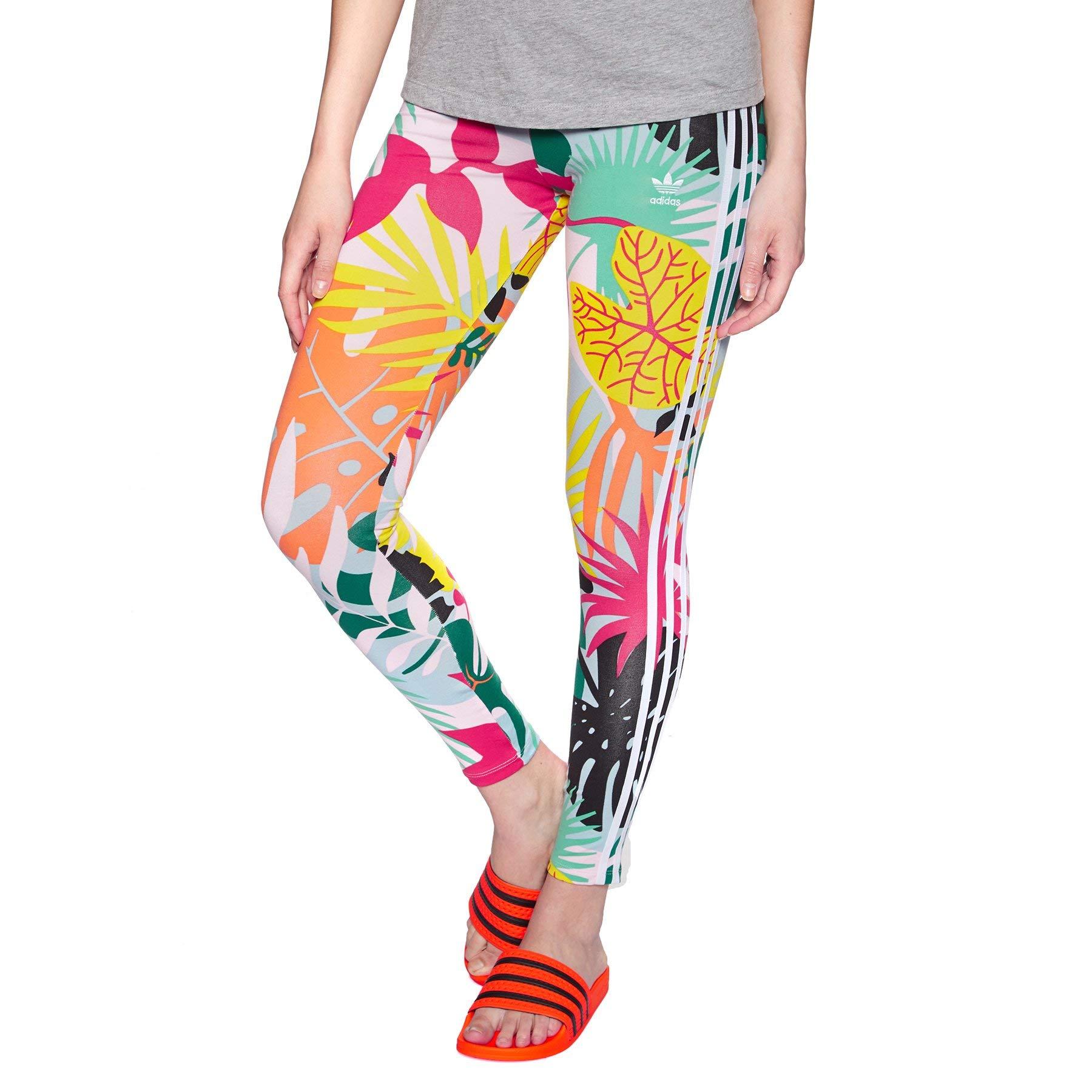 adidas Originals 3 Stripe Leggings UK 8 Reg Tropical Print