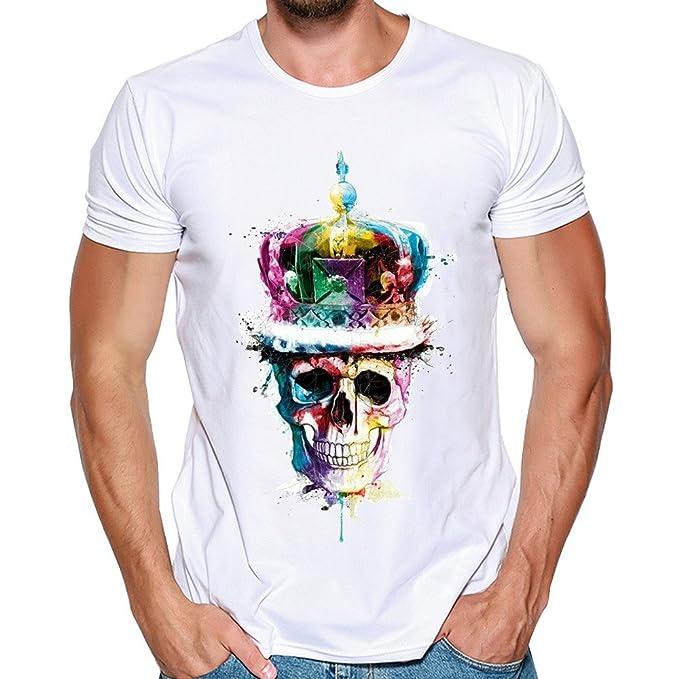 13729f9015 feixiang Camicia Uomo Magliette Maniche Corta Estiva Moda T-Shirt con  Teschi della Moda Maglietta Girocollo Camicie Bianca Slim Fit Pullover Tops
