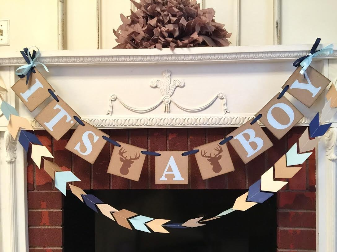 Little Buck baby shower decorations - Oh deer baby shower - it's a boy banner- woodland baby shower decorations- Its a Boy Banner - your color choices