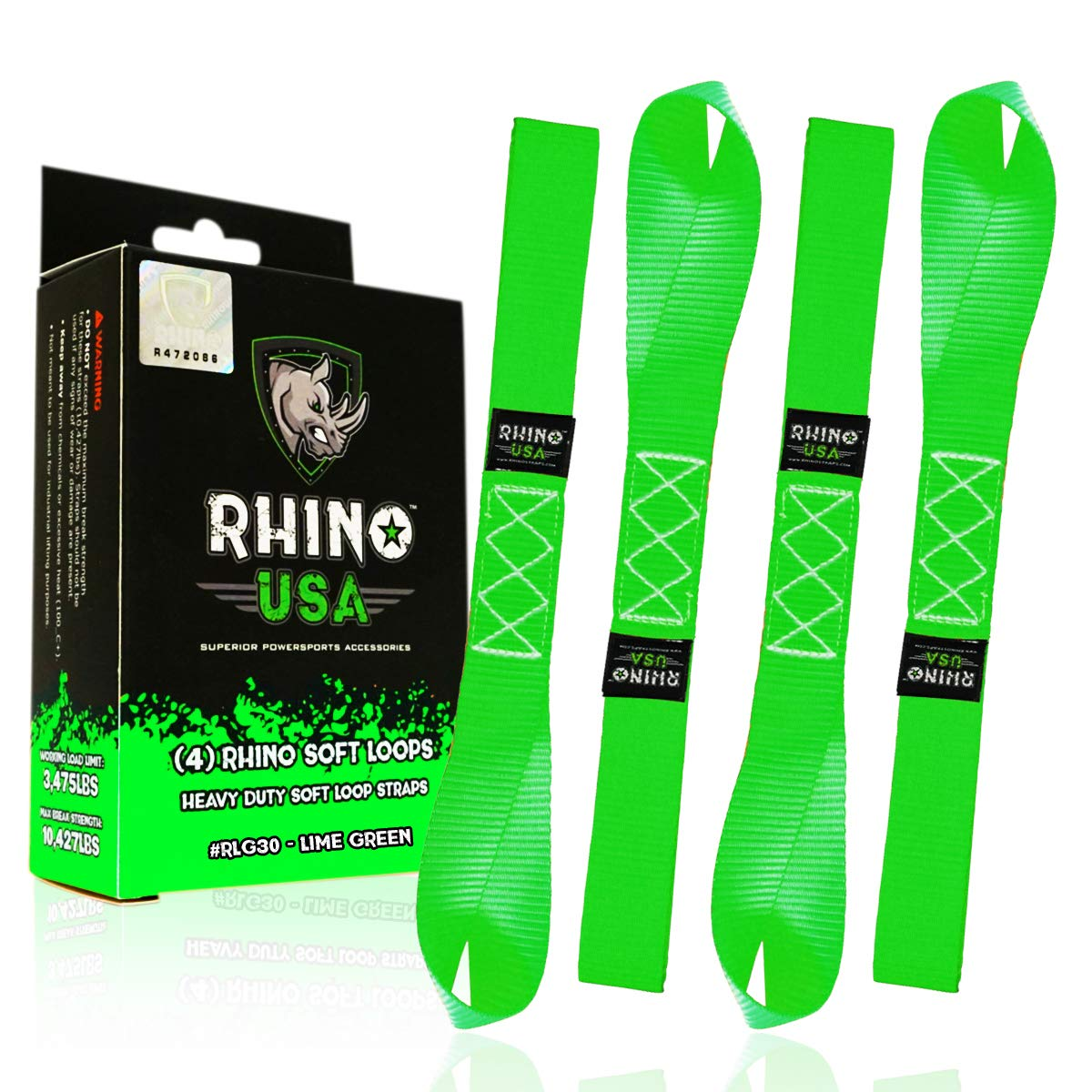 RHINO USA Soft Loop Motorcycle Tie Down Straps - Guaranteed 10,427lb Max Break Strength, Heavy Duty Tiedown Loops for Secure and Confident Trailering of Motorcycles, Dirtbikes, ATV, UTV (Green 4-Pack) by Rhino USA