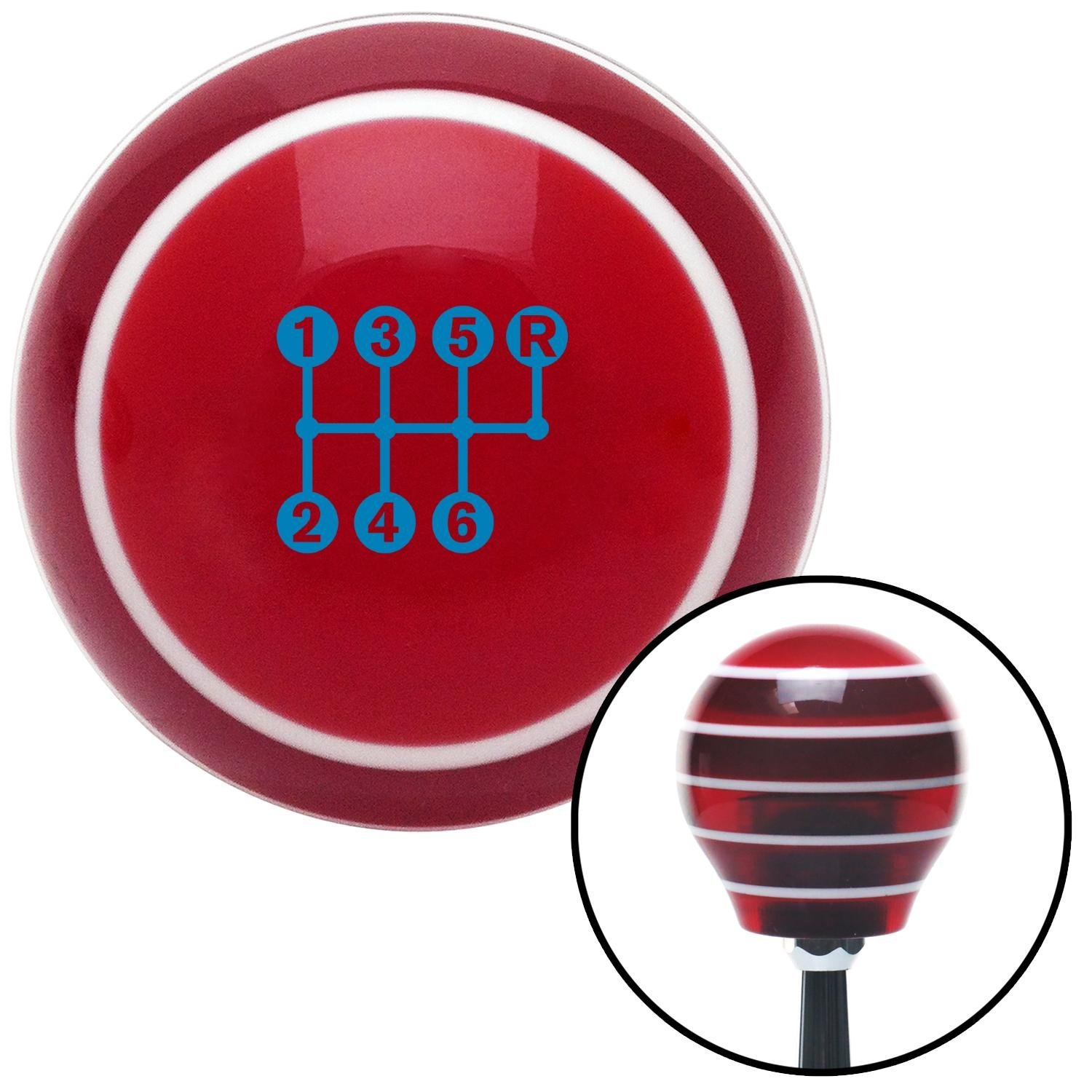Blue 6 Speed Shift Pattern - Dots 26n Red Stripe with M16 x 1.5 Insert American Shifter 274314 Shift Knob