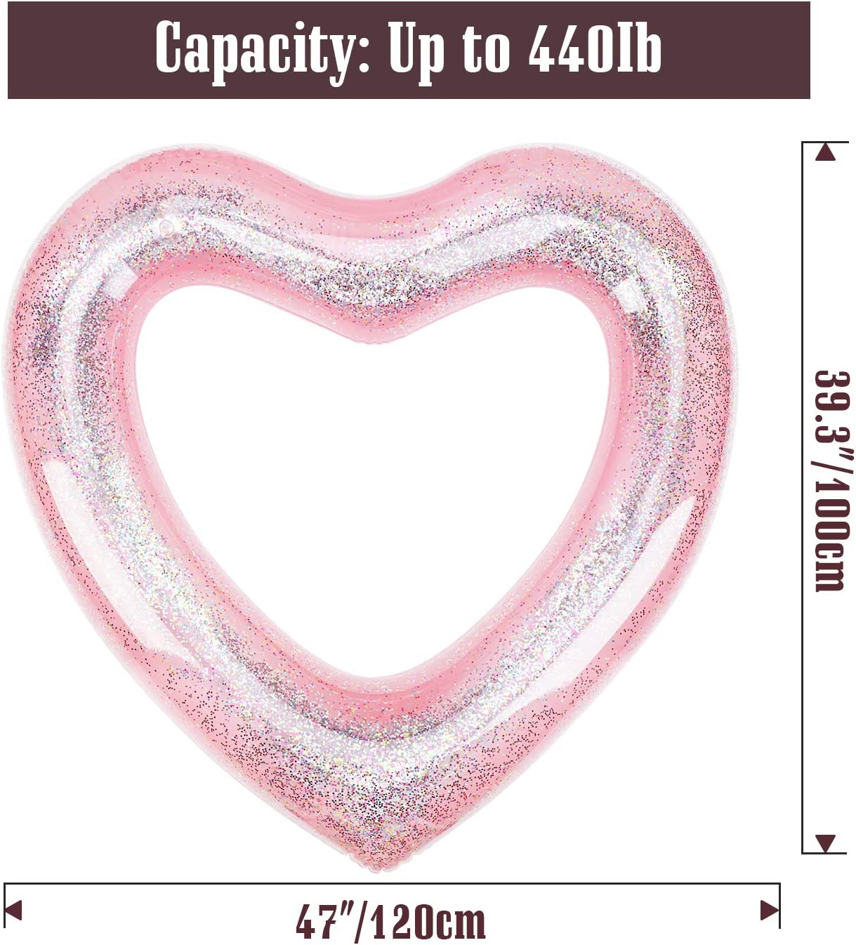 Rose Gold Water Fun Beach Party Toys for Kids Adults Heart Shaped Summer Swimming Pool Float Loungers Tube 120 cm Diameter HeySplash Inflatable Swim Rings with Glitter