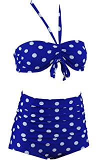 Aloha de plage Polka Dots High wais Ted hochtailliert Vintage Bikini A2017 - Multicolore - XL