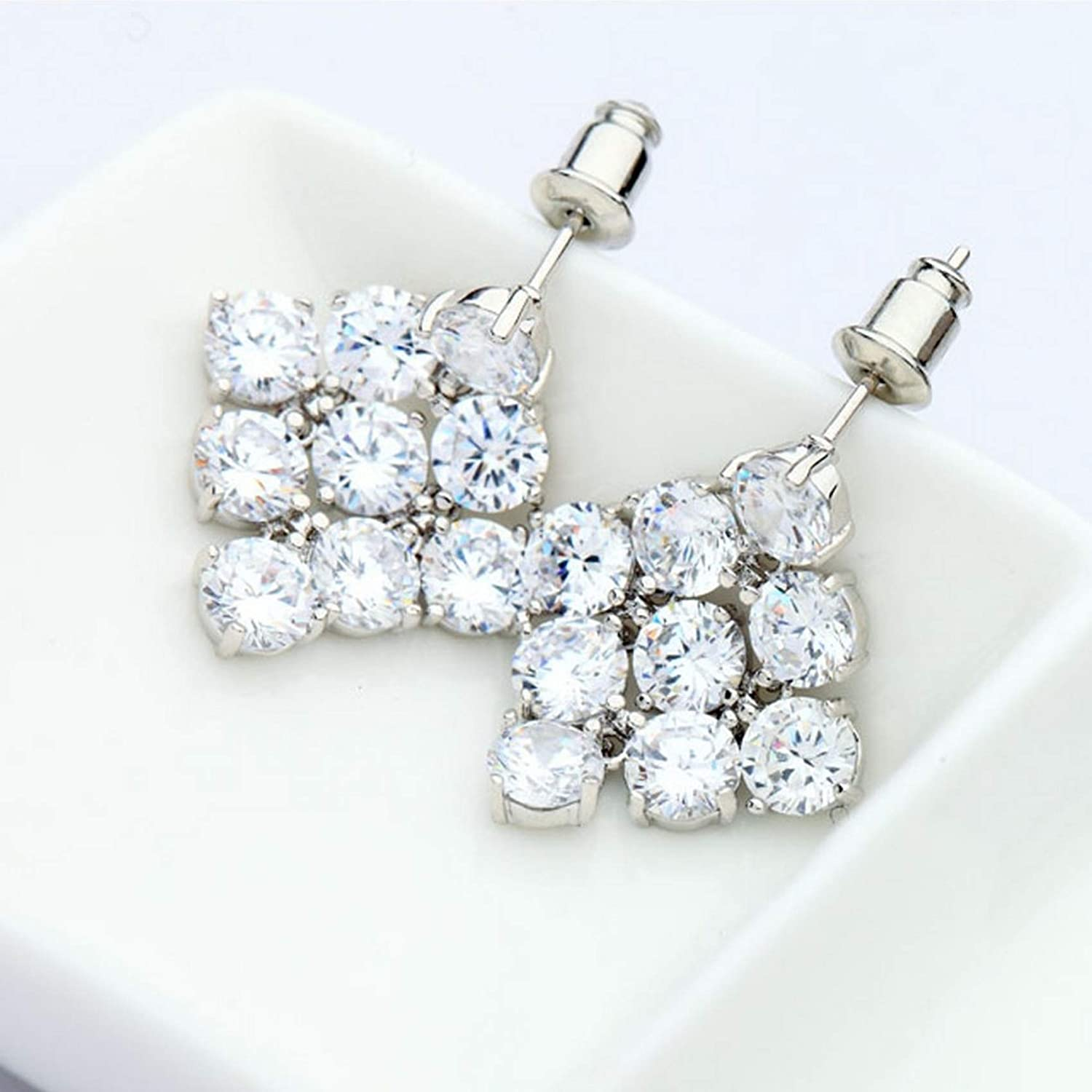 CS-DB Silver Full Of Clear Round Cubic Zirconia Joined Diamond Shape Dangle Stud Charm Earrings