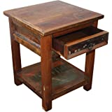 """KMH®, Nachttisch """"Rustic"""" im Shabby Chic / Vintage Style (aus recyceltem Teakholz gefertigt!) (#202218)"""