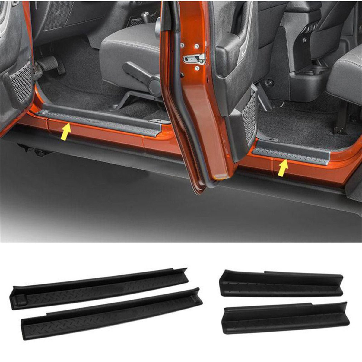 FMtoppeak One Set of 4 Pcs Front & Rear Door Sill Protector Cover Scuff Plate Entry Guards for 2007-2017 Jeep Wrangler JK 4 Door (Black)