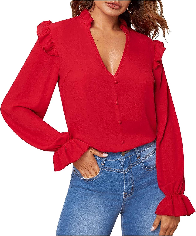 LYANER Women's V Neck Ruffle Trim Flounce Long Sleeve Pullover Work Blouse Shirt Top