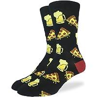 Good Luck Sock Men's Pizza & Beer Crew Socks - Black, Adult Shoe Size 7-12