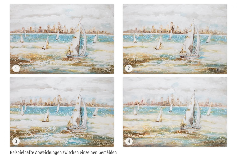 Segel Meer Blau Boote Schiffe Wandbild Acrylbild Moderne Kunst einteilig mit Rahmen KunstLoft/® Acryl Gem/älde Sailors Race 120x80cm original handgemalte Leinwand Bilder XXL