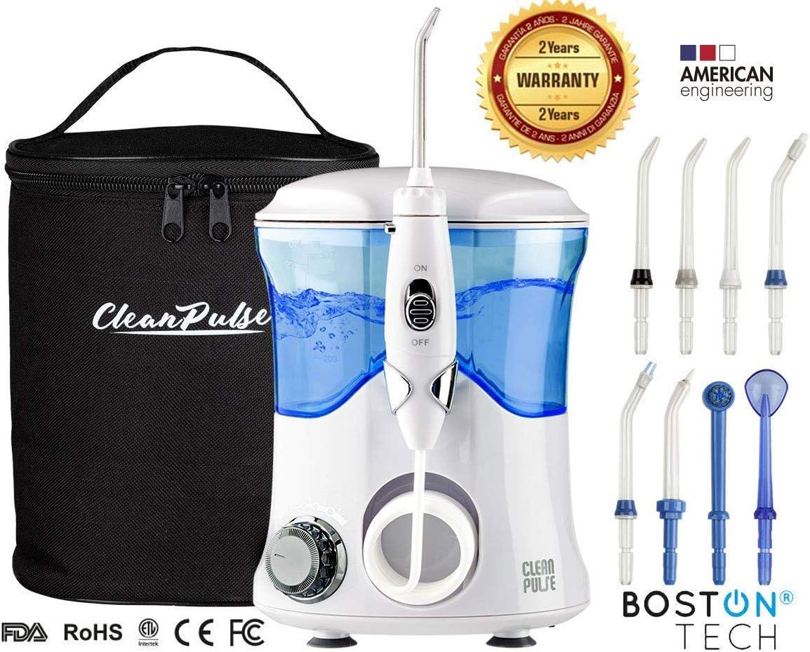 Clean Pulse Pro - Irrigador bucal -Irrigador Dental Profesional, 8 Boquillas, Depósito 600 ml. de Agua y bolsa de Viaje Recomendado por dentistas y médicos especialistas