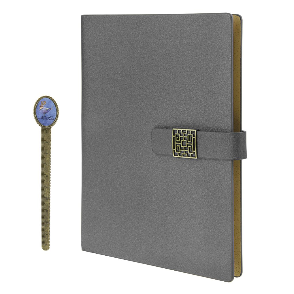 Notebook, A5 Faux Leather Journal, Business Office Notebook with Magnetic Clasp, Loose Leaf Wirebound Notebook with Spiral, Refillable Travel Notepad, College Ruled Paper, 192 Pages, 6.9x9.1 inches