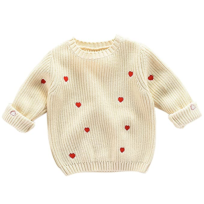 c8e6b84f4 Amazon.com  Bebone Kids Girls Knitted Sweater Heart Print Crew Neck ...