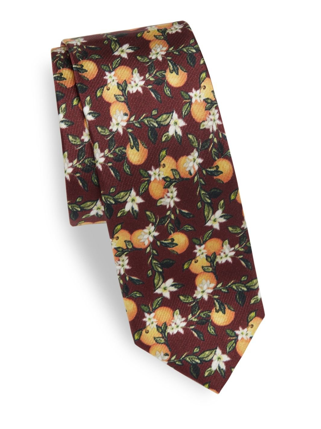 Dolce & Gabbana Men's Orange Print Italian Silk Tie, OS, Wine