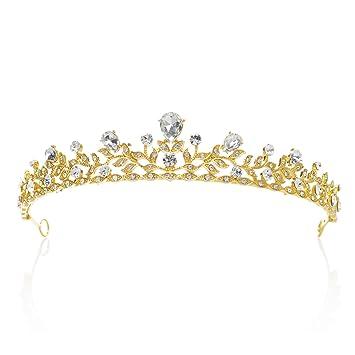 Sweetv Retro Stil Kristalle Prinzessin Krone Strass Braut Tiara Festzug Prom Hochzeit Diadem Gold