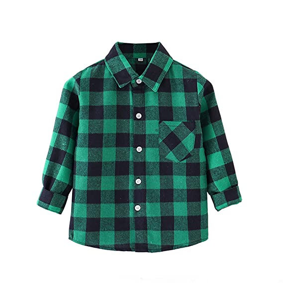 Toddler Baby Boy Girl Plaid Shirt Christmas Outfits Long Sleeve Button Down Red Plaid Flannel Tops Kid Clothes