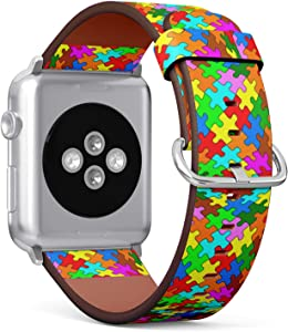 Compatible with Apple Watch (Small 38mm/40mm) Series 1,2,3,4 - Leather Band Bracelet Strap Wristband Replacement - Jigsaw Puzzle