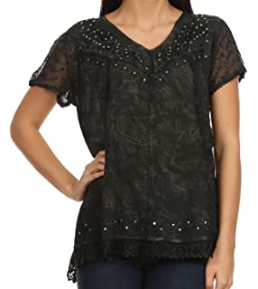 Women Long Sleeve Top with Sheer Accents  European Products