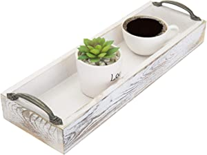 MyGift Whitewashed Wood Rectangular Party Serving Tray with Side Handles