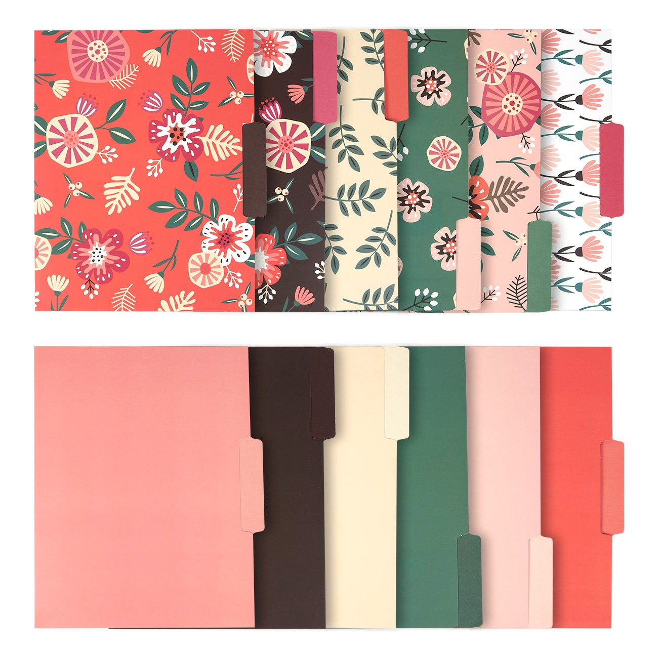 Decorative File Folders - 12-Count Colored File Folders Letter Size, 1/3-Cut Tabs, Includes 6 Cute Floral Designs and 6 Solid Colors, Office Supplies File Filing Organizers, 9.5 x 11.5 Inches