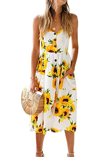 65c5582ddeab Genhoo Women Sleeveless Dress Floral Bohemian Spaghetti Strap Casual Button Midi  Sundresses with Pockets Yellow