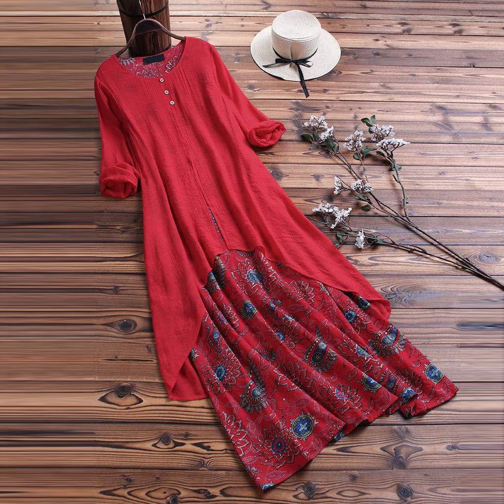 Sttech1 Women Long Sleeve Retro Printed Fake Two-Piece O-Neck Loose Long Dresses