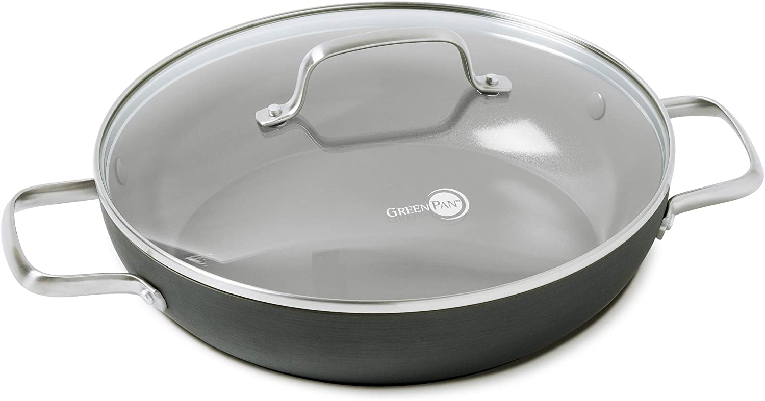 """GreenPan Chatham Healthy Ceramic Nonstick, Everyday Pan/Chef's Pan with Lid, 11"""", Gray: Kitchen & Dining"""