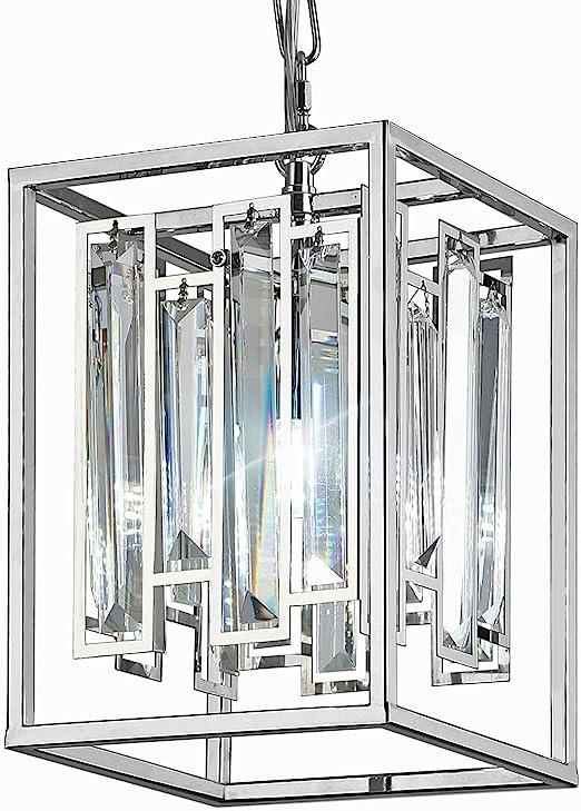Modern K9 Crystal Pendant Lighting with 1-Lights Bulbs, Rectangle Stainless Steel Pendant Light Fixture Adjustable Hanging Kitchen Island Light for Dining Room Living Room Foyer Hallway, UL Listed