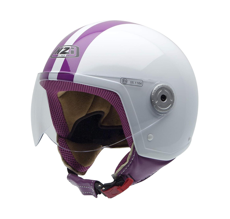 Bianco//Rosa NZI 150251G325 Vintage II Classic White//Pink Taglia S Casco da Moto
