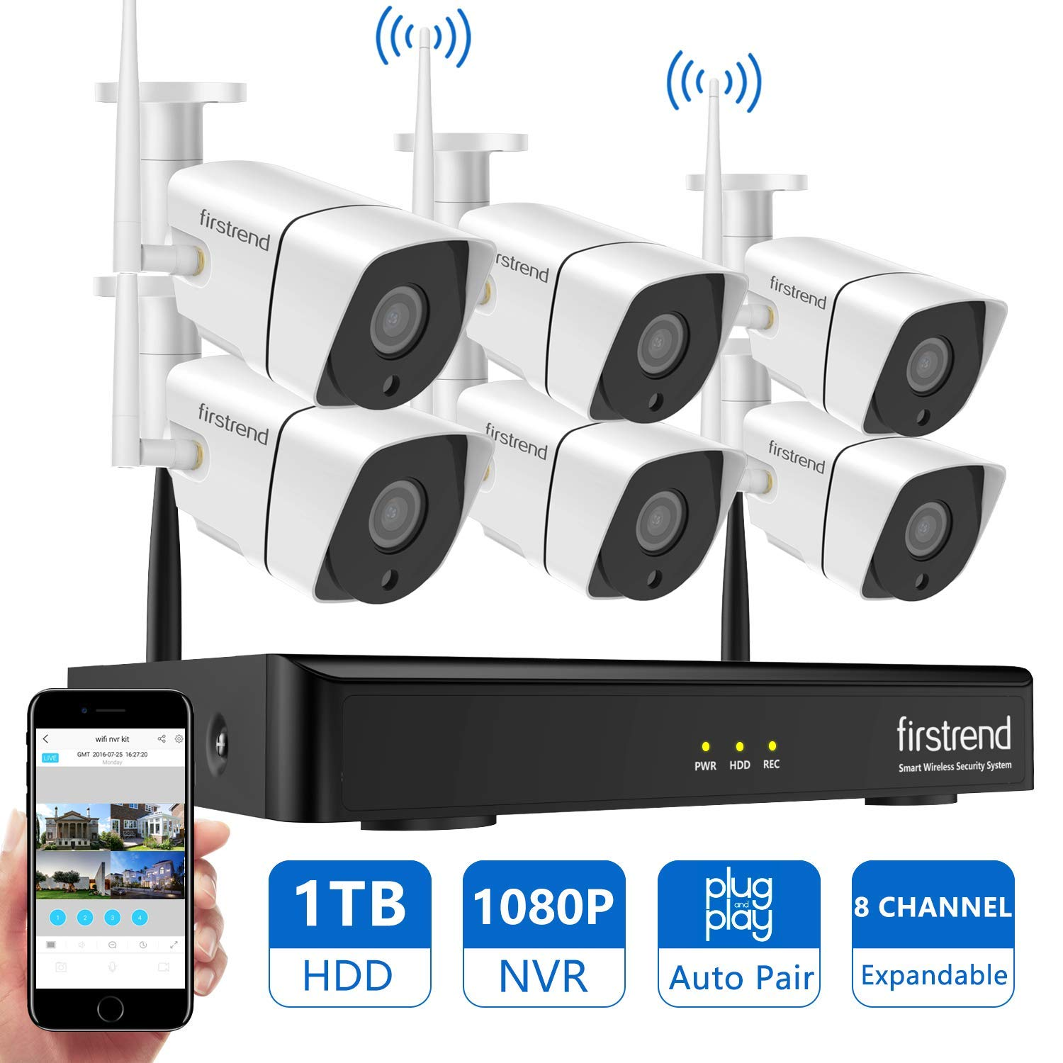 Newest Security Camera System Wireless, Firstrend 8CH 1080P Wireless Surveillance NVR System and Easy Remote Home Monitoring Systems with 6pcs 1MP Video Home Security Cameras 1TB Hard Drive Installed