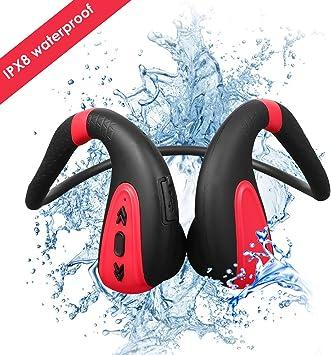 Bigvapor Reproductor MP3 Bluetooth 5.0 Auriculares Bluetooth de conducción ósea 8G Reproductor de MP3 Impermeable Inalámbrico Auriculares Deportivos (Negro Rojo)