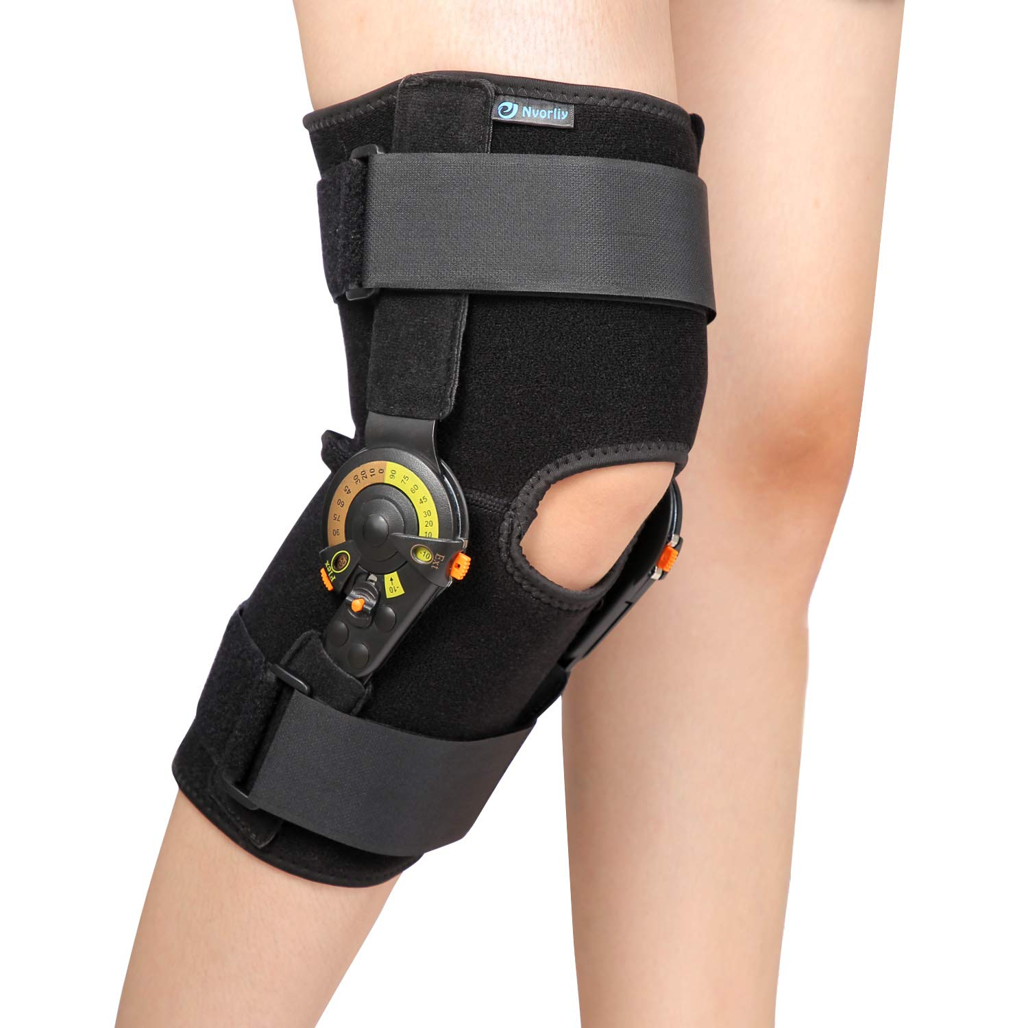 Nvorliy Hinged ROM Knee Brace Adjustable Knee Immobilizer Support for Arthritis, ACL, PCL, Meniscus Tear, Tendon, Osteoarthritis, Post OP Recovery - Leg Stabilizer for Men & Women - One Size by Nvorliy