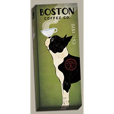 Popular Green and Black Boston Terrier Coffee Co Panel by Ryan Fowler; One 8x20in Hand-Stretched Canvas