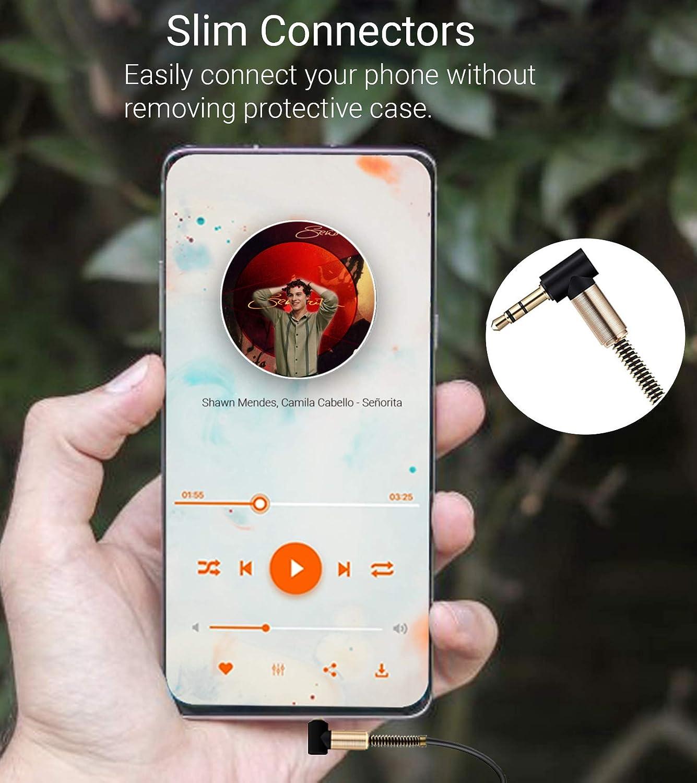 Angolare a 90 Gradi Spina Placcato Oro Estensione Cavi Compatibile con iPhone iPad Samsung PC Tablet Altoparlanti ULTRICS 2.5M Cavo Prolunga Jack 3,5 mm Maschio a Femmina Cuffie Stereo Audio Cable