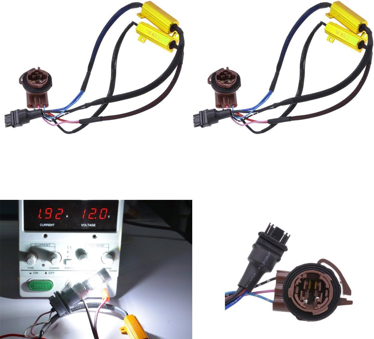 KATUR 2pcs 50W 8ohm 3157 3047 3057 3155 3457 Led Load Resistors - Fix LED Bulb Fast Hyper Flash for LED Turn Signal Light Blink or LED License Plate Lights Error