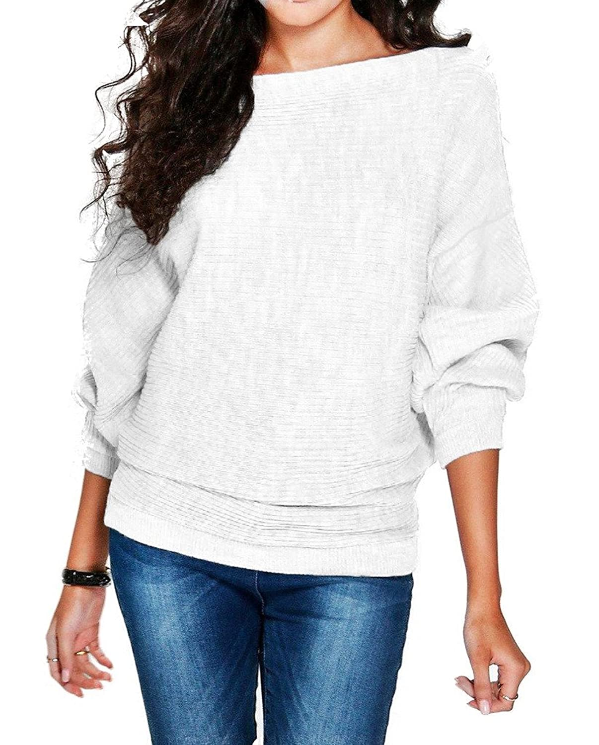 Bigood Women Ladies Fall Chic Loose Batwing Sleeve Kitted Tops Pullover