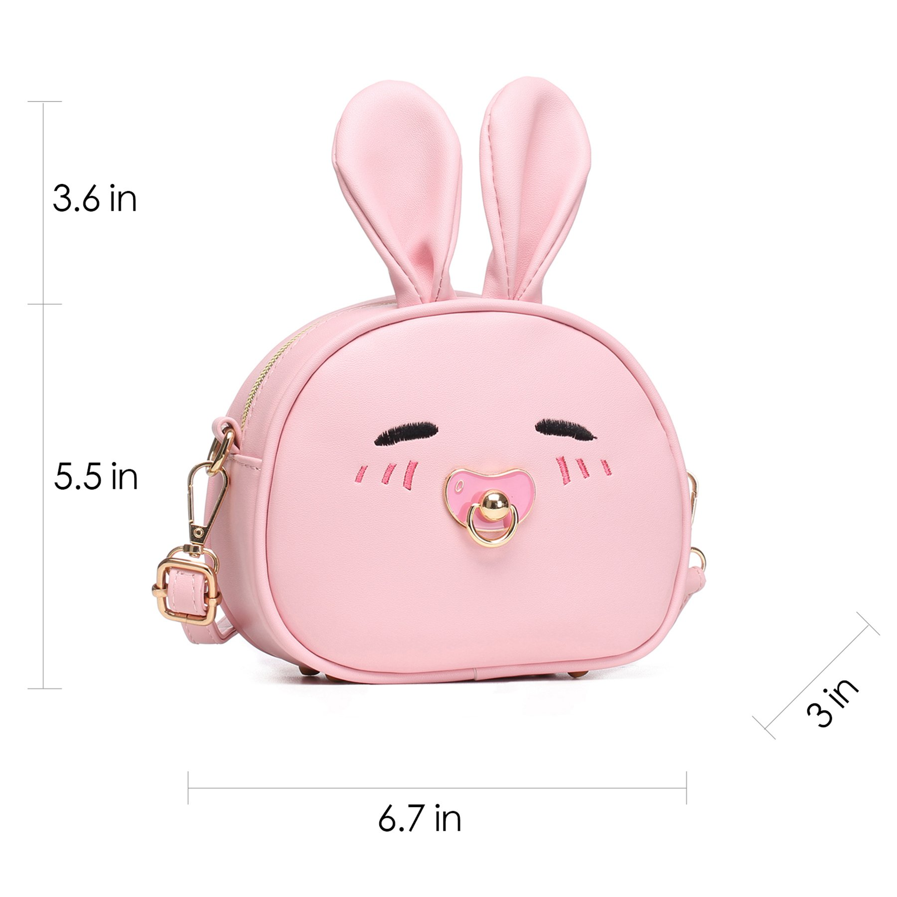 CMK Trendy Kids My First Purse for Toddler Kids Girls Cute Shoulder Bag Messenger Bags with Bunny Ear and Double Slide Zipper Novelty Birthday Gift (82011_Pink) by CMK Trendy Kids (Image #4)