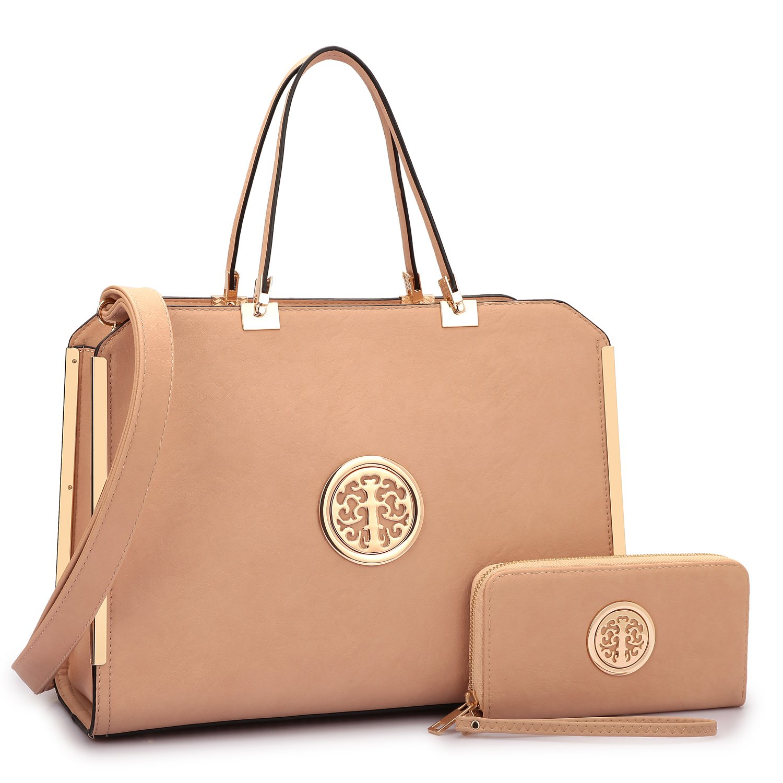 MMK collection Women Fashion Matching Satchel handbags with wallet~Designer Purse for Women ~Multi Pocket ~ Perfect Women Purse and wallet~ Beautiful Designer Handbag Set (6900BG)