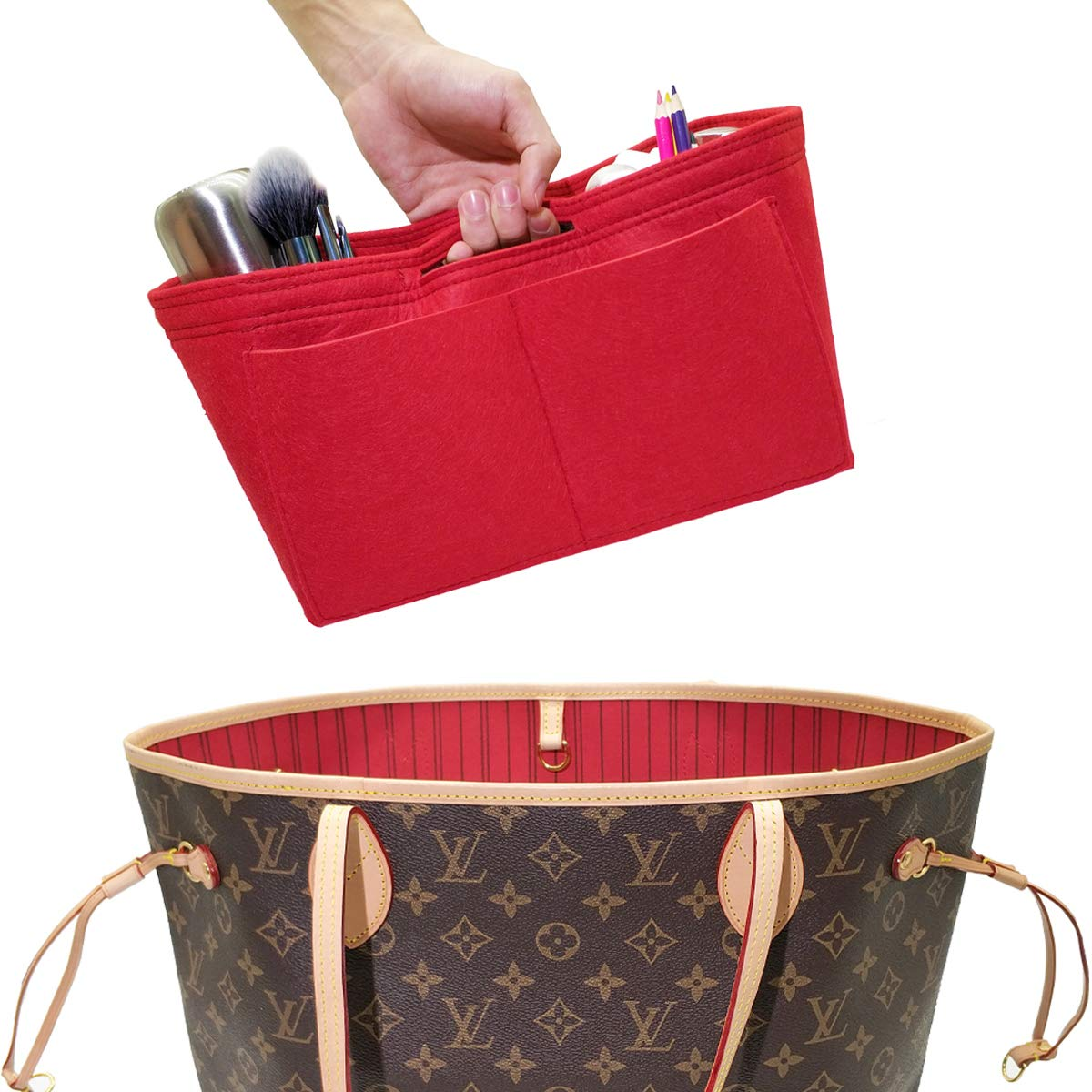 LEXSION Felt Handbag Insert Organizer Bag In Bag with Two Removeable Holder Red Large