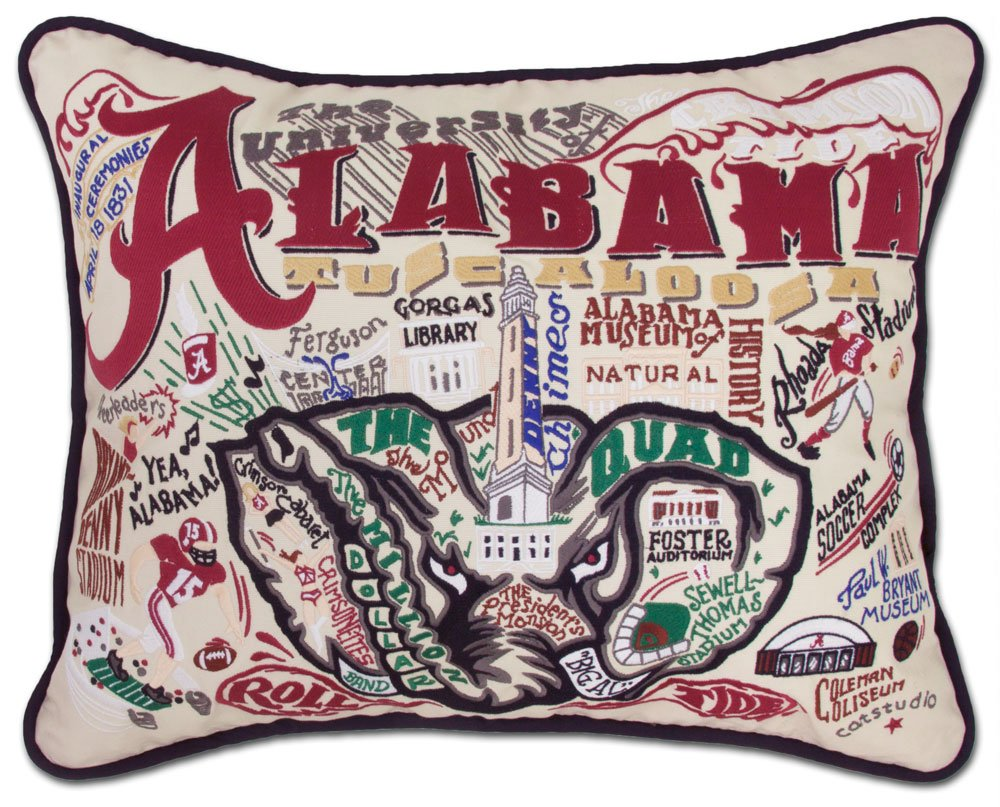 ALABAMA UNIVERSITY OF COLLEGIATE EMBROIDERED PILLOW - CATSTUDIO