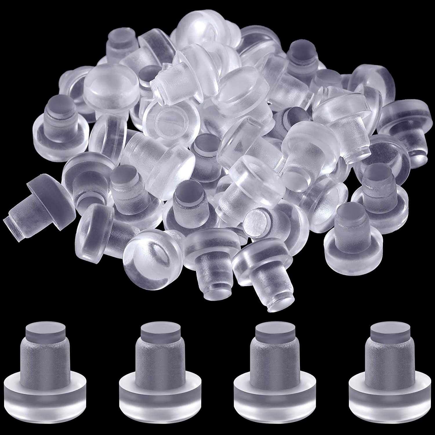 50 Pieces Glass Table Top Bumpers with Stem Furniture Clear Bumpers Pads Cabinet Door Rubber Bumpers Pads for Outdoor Patio Furniture Glass Table Tops with 1/4 Inch Hole