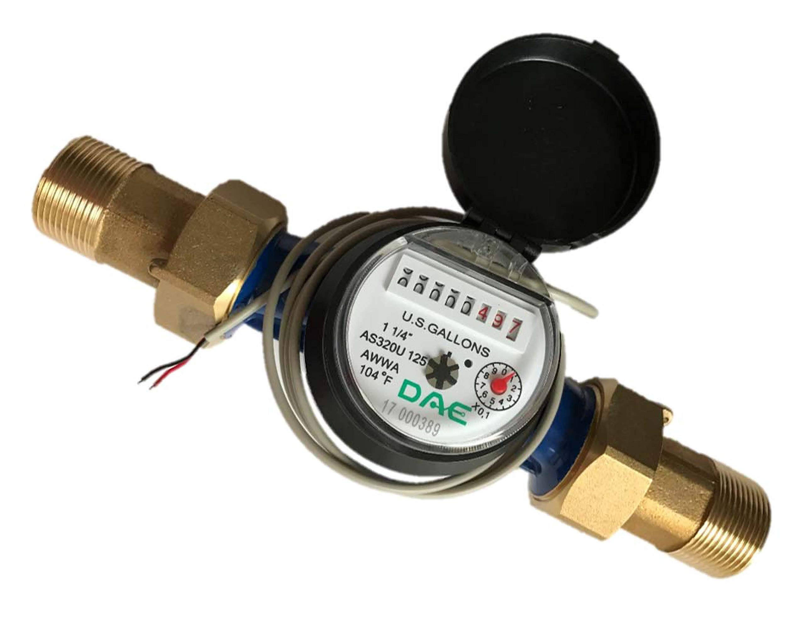 DAE AS320U-125P 1-1/4'' Water Meter with Pulse Output, Measuring in Gallon + Coupling by DAE