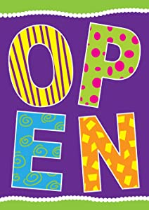 Toland Home Garden Purple Open 12.5 x 18 Inch Decorative Colorful Business Sign Double Sided Garden Flag