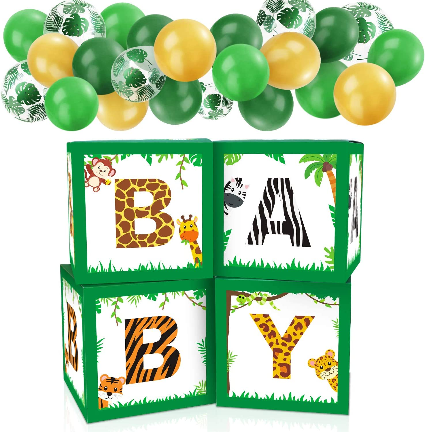 Baby Shower Decorations Balloon Box Safari Jungle Animals Baby Shower Boxes Decor for Gender Reveal Party Supplies Birthday Party Decorations Boy Girl Baby Blocks Decorations