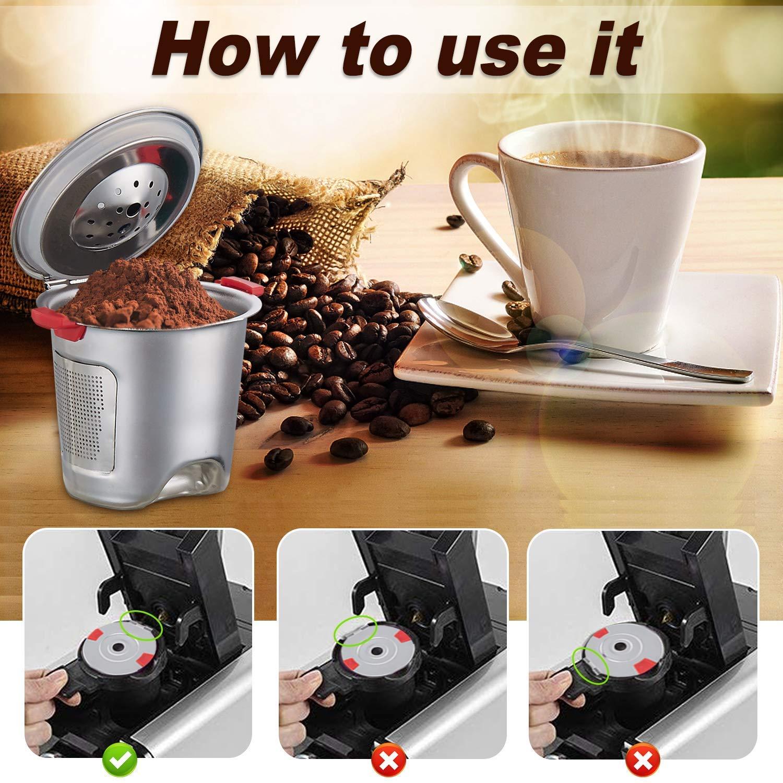 Reusable k Cups For Keurig 2.0 & 1.0 Coffee Machines Universal Stainless Steel Reusable Keurig Filter keurig Compatible K55 100% BPA-Free (4PC) by YEOSEN (Image #2)