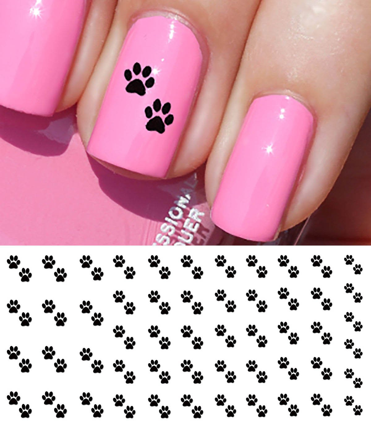 Amazon.com: I Love My Dog Paw Prints Water Slide Nail Art Decals ...